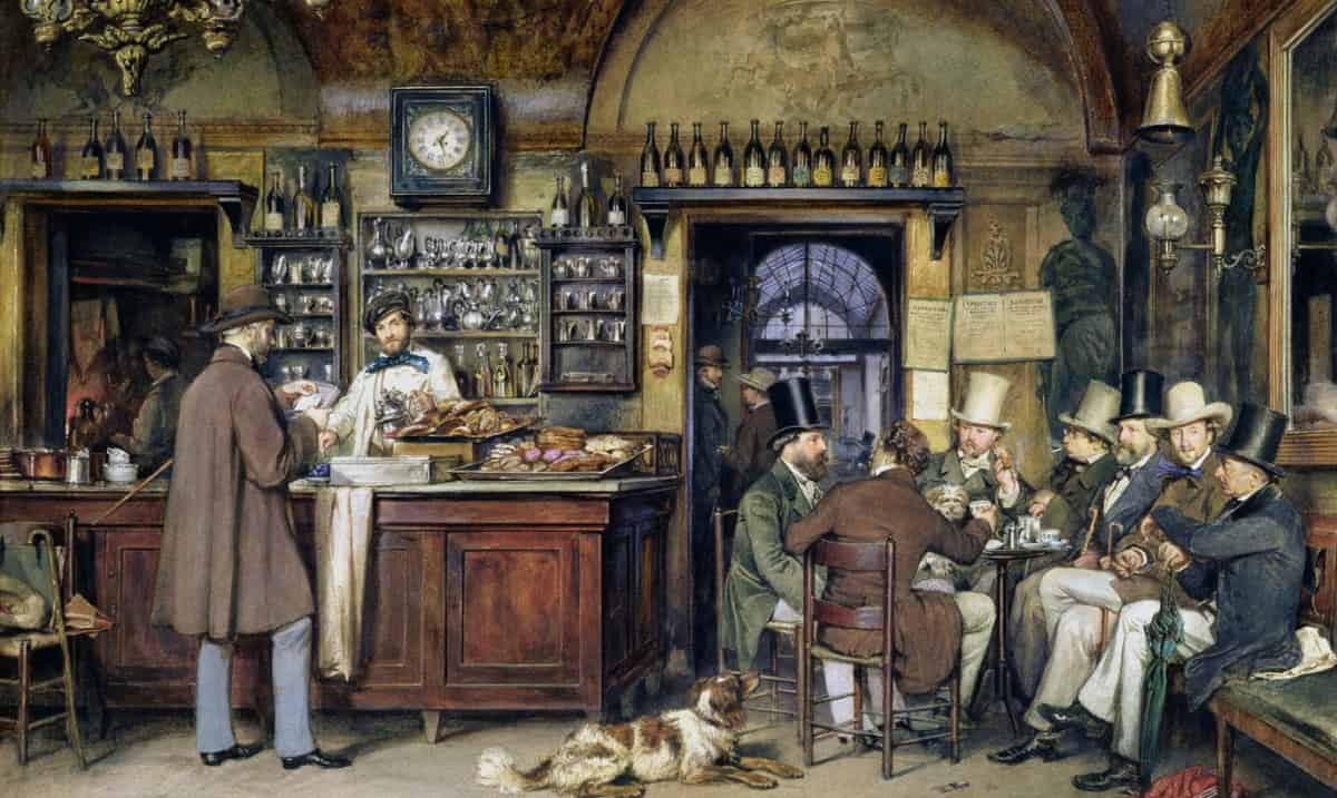 Painting of Ludwig Passini: Artists in Cafè Greco in Rome