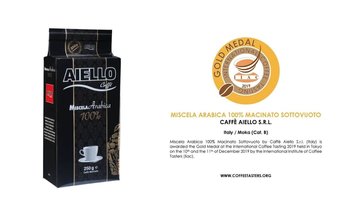 Miscela 100% Arabica macinato medaglia d'oro all'International Coffee Tasting 2019