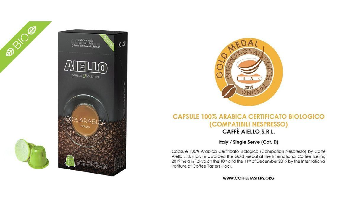 Capsule compatibili nespresso Arabica 100% Bio medaglia d'oro all'International Coffee Tasting 2019