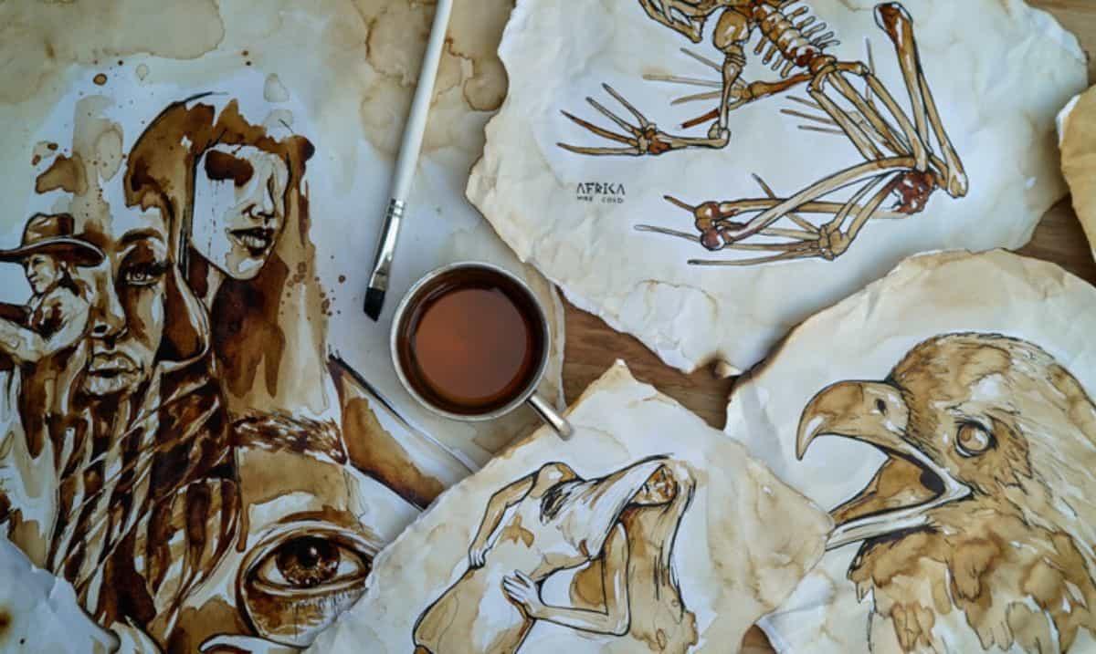 Disegni realizzati con la tecnica artistica coffee painting