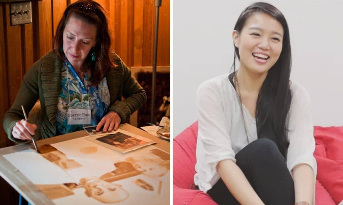 Le artiste della coffee painting Karen Eland e Hong Yi