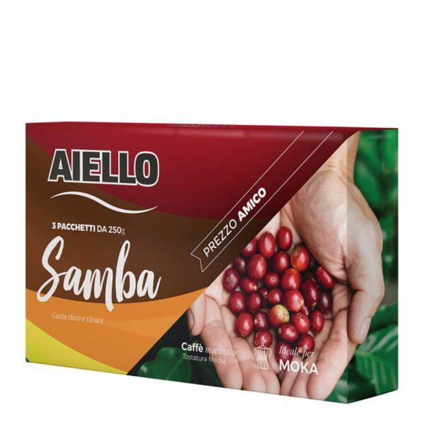caffè macinato samba tripack 750 gr aiello